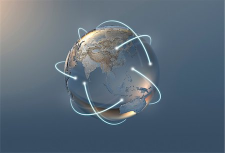 Illustration of lines and silver globe Stock Photo - Premium Royalty-Free, Code: 614-06719518