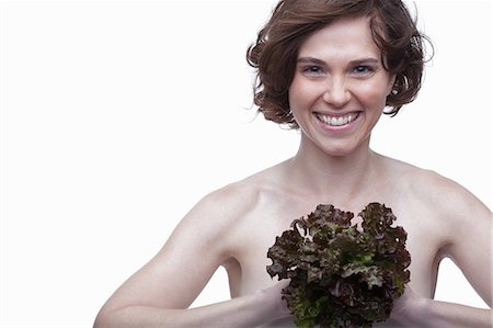 short hair - Young woman with lettuce Stock Photo - Premium Royalty-Free, Code: 614-06814221
