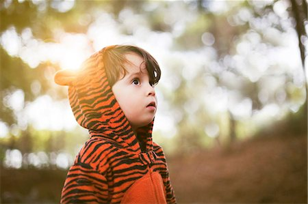 Portrait of male toddler in tiger suit alone in woods Stock Photo - Premium Royalty-Free, Code: 614-06814356