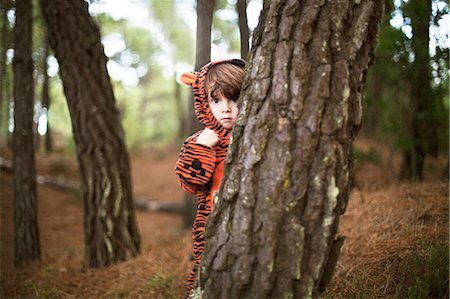 Male toddler wearing tiger suit hiding behind tree Stock Photo - Premium Royalty-Free, Code: 614-06814352
