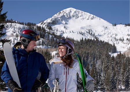 sports and snowboarding - Young couple at Brighton ski resort, Utah, USA Stock Photo - Premium Royalty-Free, Code: 614-06814369