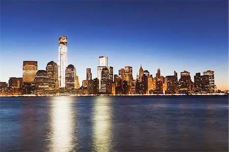 Manhattan skyline at dusk, New York City, USA Stock Photo - Premium Royalty-Free, Code: 614-06813348