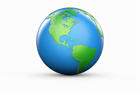 Blue and green globe of North and South America Stock Photo - Premium Royalty-Free, Code: 614-06813414