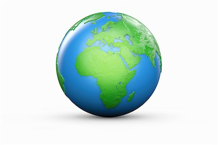 Blue and green globe of Europe and Africa Stock Photo - Premium Royalty-Free, Code: 614-06813415