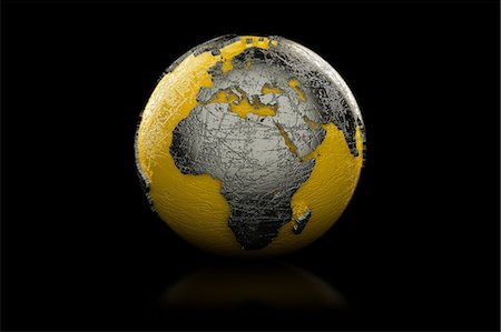 Yellow and black globe Europe and Africa Stock Photo - Premium Royalty-Free, Code: 614-06813411