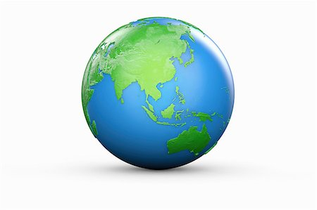 Blue and green globe of Asia and Australia Stock Photo - Premium Royalty-Free, Code: 614-06813413