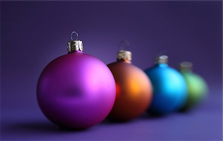 fragile - Colorful row of christmas baubles Stock Photo - Premium Royalty-Free, Code: 614-06813435