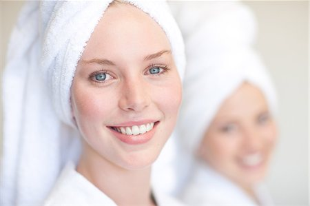 Young women with towels on heads in spa Stock Photo - Premium Royalty-Free, Code: 614-06813809