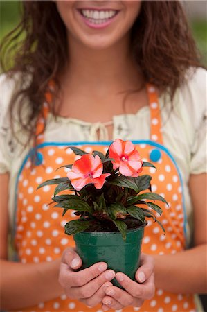 Young woman holding plant in garden centre, mid section Stock Photo - Premium Royalty-Free, Code: 614-06896192