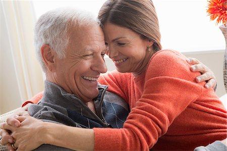 Mature woman and senior man hugging Stock Photo - Premium Royalty-Free, Code: 614-06896493