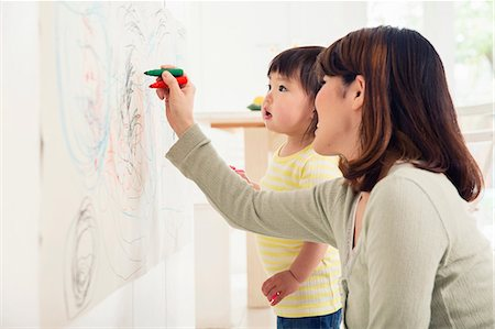 east asian - Mother and toddler drawing Stock Photo - Premium Royalty-Free, Code: 614-06896943