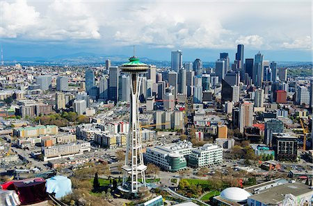 Aerial view of space needle Seattle, Washington State, USA Fotografie stock - Premium Royalty-Free, Codice: 614-06897013