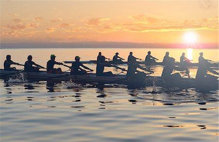 sport rowing teamwork - Twelve people rowing at sunset Stock Photo - Premium Royalty-Free, Code: 614-06897798