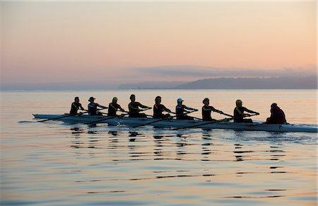 sport rowing teamwork - Nine people rowing Stock Photo - Premium Royalty-Free, Code: 614-06897799
