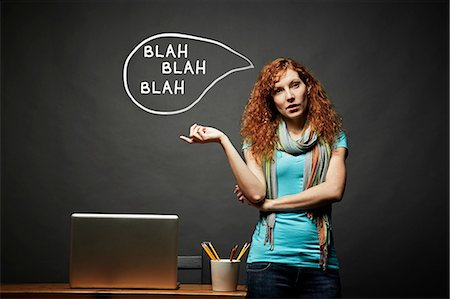 Woman talking continuously, blah blah blah speech bubble Stock Photo - Premium Royalty-Free, Code: 614-06898239