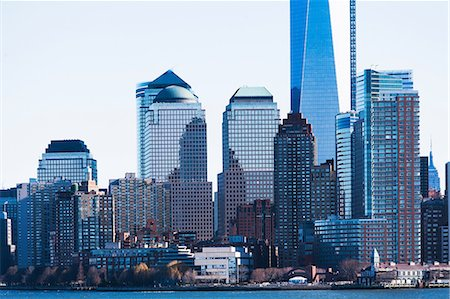 edificio - Hudson River and New York City skyline, USA Foto de stock - Sin royalties Premium, Código: 614-06974147