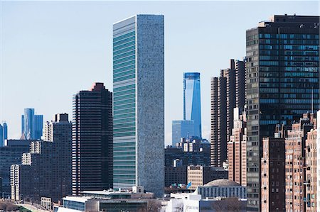 edificio - United Nations building in New York city Foto de stock - Sin royalties Premium, Código: 614-06974167