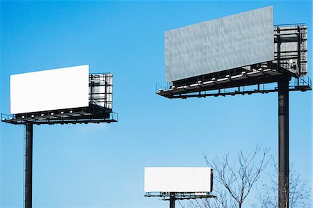 Blank billboards against blue sky Stock Photo - Premium Royalty-Free, Code: 614-06974162