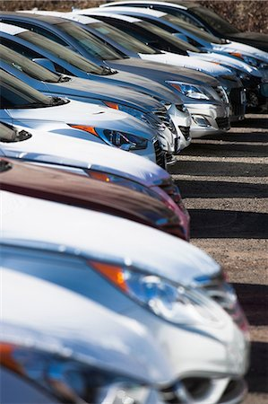 Close up of cars in parking lot Stock Photo - Premium Royalty-Free, Code: 614-06974173
