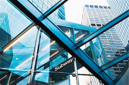 Skyscrapers through subway entrance, New York City, USA Stock Photo - Premium Royalty-Free, Code: 614-06974211