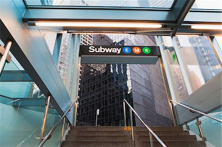 Office buildings and subway entrance, New York City, USA Stock Photo - Premium Royalty-Free, Code: 614-06974212