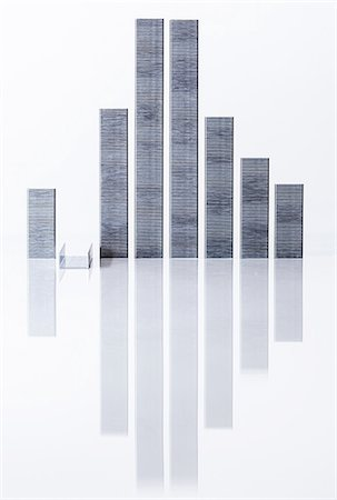 Staples arranged to look like buildings Stockbilder - Premium RF Lizenzfrei, Bildnummer: 614-06974279
