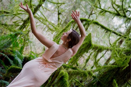 silk - Mature woman dancing in forest Stock Photo - Premium Royalty-Free, Code: 614-06974604