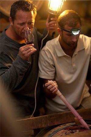 stain (dirty) - Sampling wine in barrels Stock Photo - Premium Royalty-Free, Code: 614-06973687