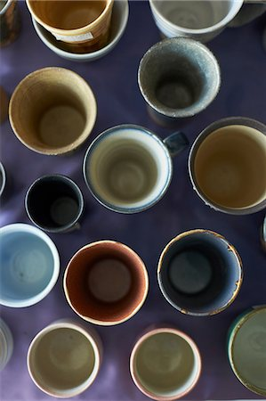 Large group of traditional Japanese ceramics, overhead view Stock Photo - Premium Royalty-Free, Code: 614-07032074