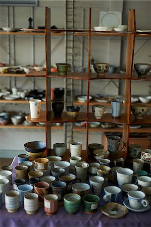 Large group of traditional Japanese ceramics Stock Photo - Premium Royalty-Free, Code: 614-07032073