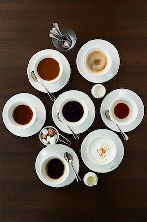 Still life with selection of coffees in cups Stock Photo - Premium Royalty-Free, Code: 614-07032097