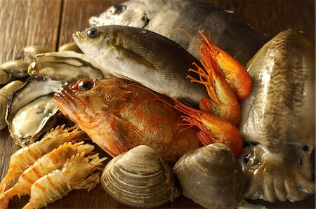 fresh - Still life with selection of seafood Stock Photo - Premium Royalty-Free, Code: 614-07032107