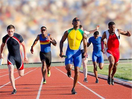 sprint - Six athletes running race Stock Photo - Premium Royalty-Free, Code: 614-07145728