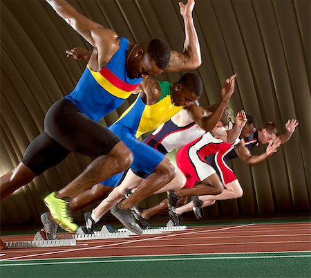 sprint - Five athletes starting a sprint race Stock Photo - Premium Royalty-Free, Code: 614-07145721