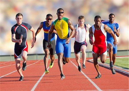 sprint - Six athletes running on race track Stock Photo - Premium Royalty-Free, Code: 614-07145723