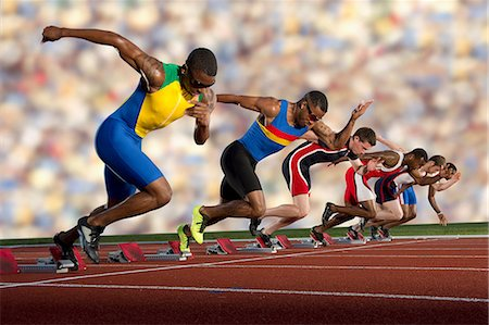 race track (people) - Six athletes starting race Stock Photo - Premium Royalty-Free, Code: 614-07145744