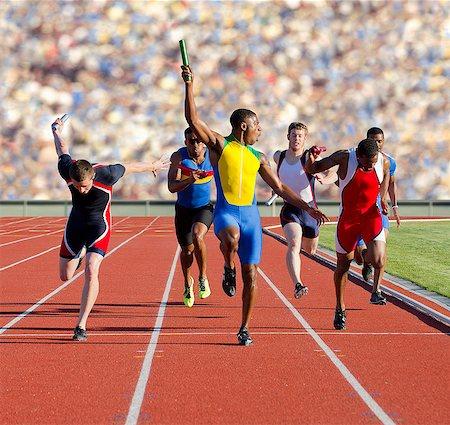 sprint - Six athletes running relay race Stock Photo - Premium Royalty-Free, Code: 614-07145743