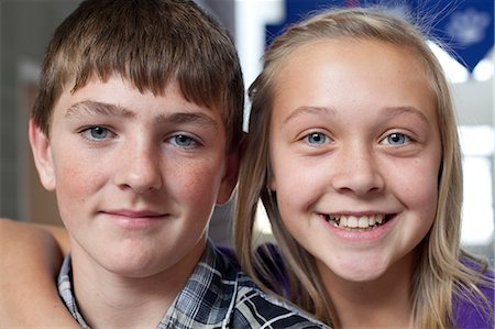 Close up portrait of boy and girl Stock Photo - Premium Royalty-Free, Code: 614-07146079