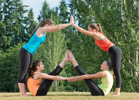 female 16 year old feet - Teenage girls doing yoga Stock Photo - Premium Royalty-Free, Code: 614-07194770