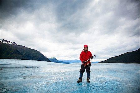 extreme terrain - Man with ice pick on Mendenhall Glacier, Alaska, USA Stock Photo - Premium Royalty-Free, Code: 614-07194870
