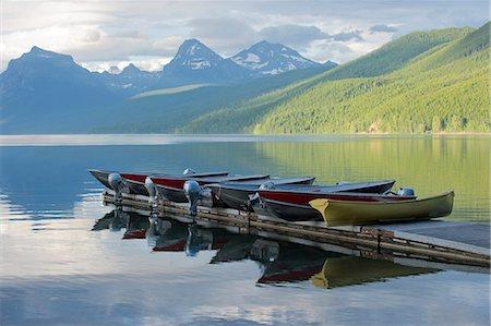 Moored boats, Lake McDonald, Glacier National Park, Montana, USA Stock Photo - Premium Royalty-Free, Code: 614-07239921