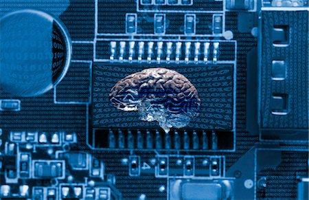 Studio shot of brain and data technology Stock Photo - Premium Royalty-Free, Code: 614-07239997