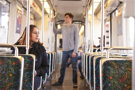 front row seat - Commuters on empty subway train Stock Photo - Premium Royalty-Free, Code: 614-07444064