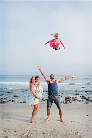 family active beach - Parents and two young girls fooling around on beach Stock Photo - Premium Royalty-Free, Code: 614-07444319