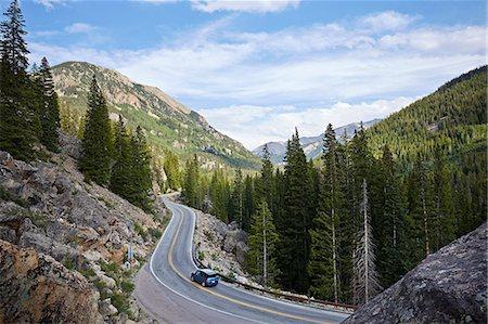 remote car - Car on winding highway, Aspen, Colorado, USA Stock Photo - Premium Royalty-Free, Code: 614-07444377