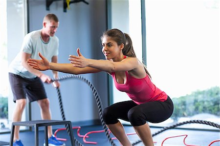 Couple working out in gym Stock Photo - Premium Royalty-Free, Code: 614-07487128