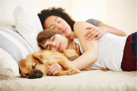 dog and woman and love - Young female couple and pet dog sleeping on bed Stock Photo - Premium Royalty-Free, Code: 614-07652182