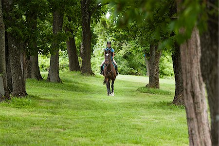 Young woman riding horse through forest Stock Photo - Premium Royalty-Free, Code: 614-07708229