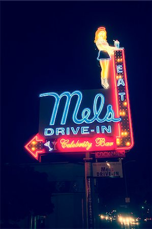 sign - Drive-in diner, neon sign, Los Angeles, California, USA Stock Photo - Premium Royalty-Free, Code: 614-07735134