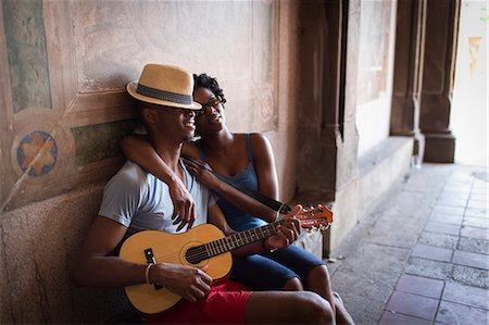 partnership - Young couple sitting with mandolin in Bethesda Terrace arcade, Central Park, New York City, USA Stock Photo - Premium Royalty-Free, Code: 614-07735384